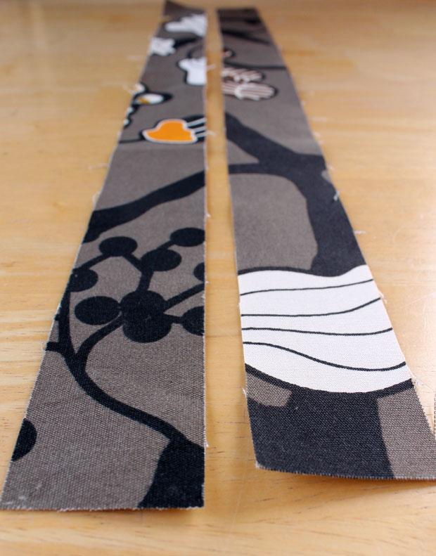 отрежьте от выбранной ткани две полоски в 5-5,5 см шириной