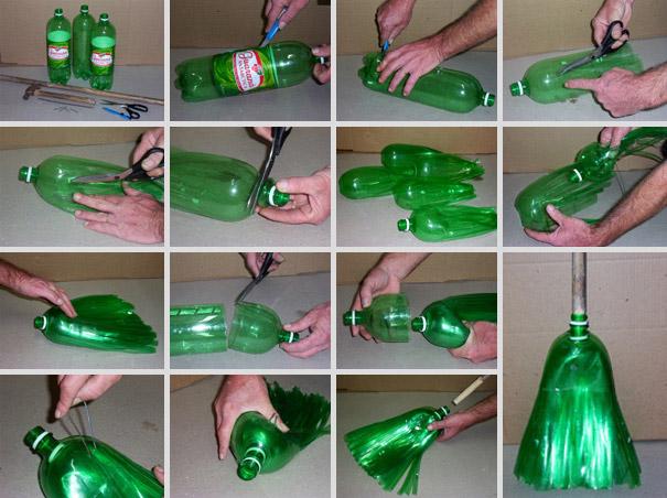 Из пластиковых бутылок легко сделать очень качественную метлу