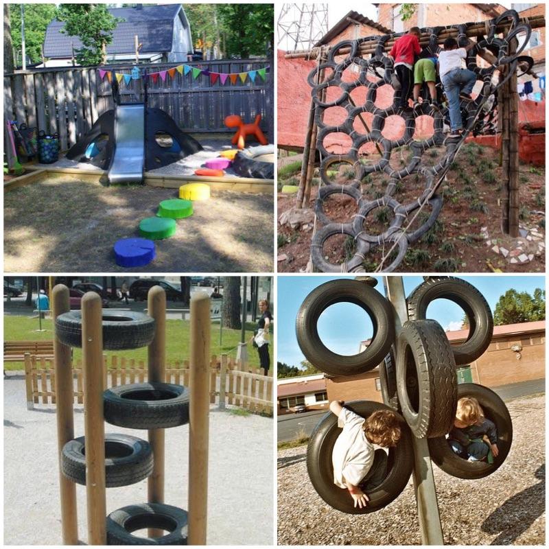 шикарная детская площадка из шин
