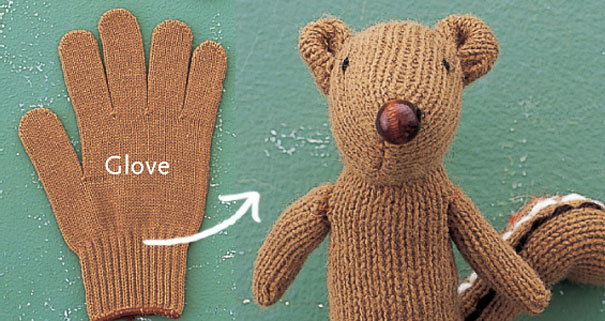 Из вязаных перчаток можно сшить мягкую игрушку - мишку или белку