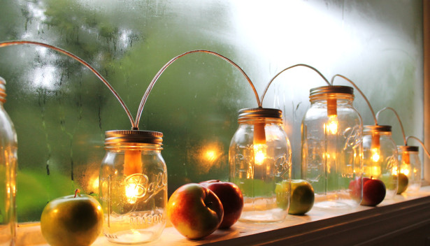 светильники для подоконника из банок