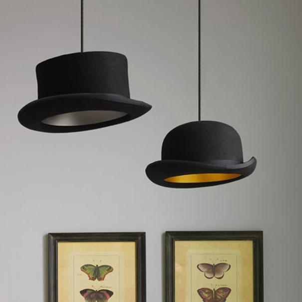 Из женских шляп и мужских котелков можно сделать плафоны для навесных ламп