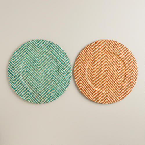 современные плетеные тарелки-подставки под горячее в шеврон