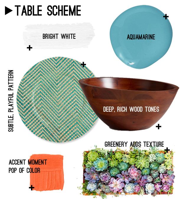 цветовая схема для сервировки летнего стола - пример