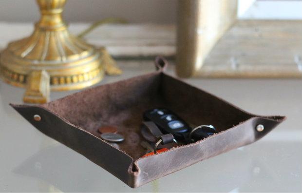 готовый кожаный лоток/поднос/поддон/чаша для ключей и мелочи