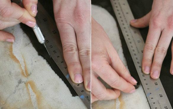 Вырежьте кусок кожи по намеченному - ножом по линейке