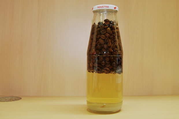 Закрываем бутылку простерилизованной заранее крышкой и трясем бутылку, смешивая ингредиенты
