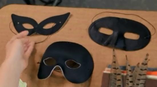 """черная """"оперная"""" маска-основа в половину лица"""