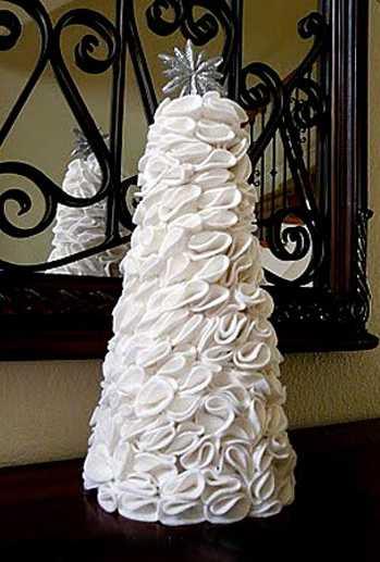 Настольные новогодние елки своими руками - на основе конусов: из кругов ткани, собранных в цветы