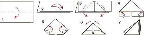 Схема треугольного модуля оригами