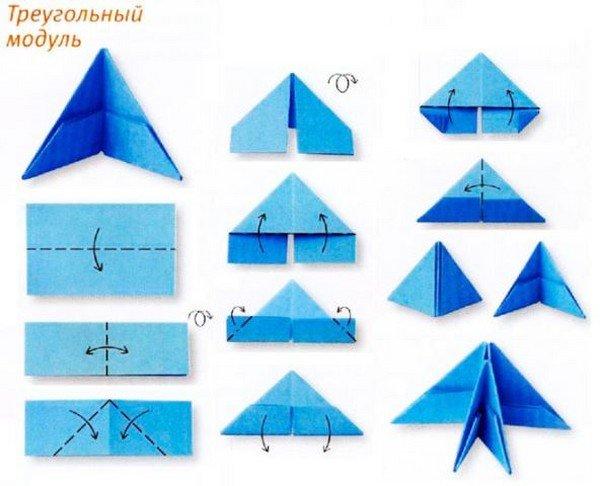 Как сложить треугольный модуль для модульного оригами