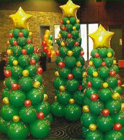 Новогодние елки из воздушных шаров
