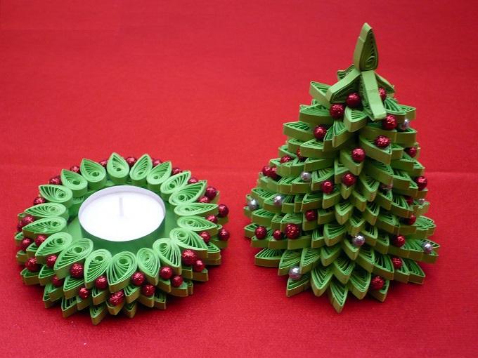 Настольные новогодние елки своими руками - на основе конусов: квиллинг, открывающаяся свеча в виде елочки