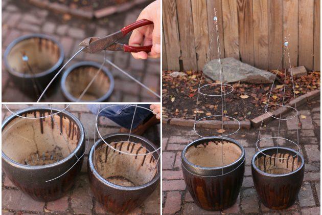 Как сделать новогоднюю елку своими руками: делаем сетку из проволоки, ставим ее на цветочный горшок