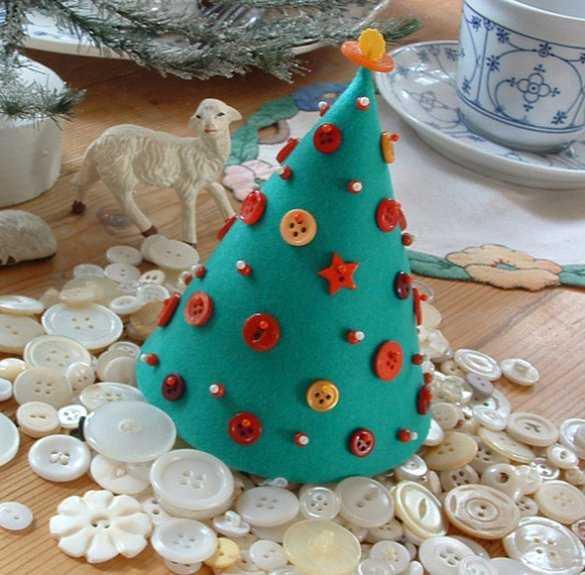 Новогодняя елка-конус из фетра и пуговиц