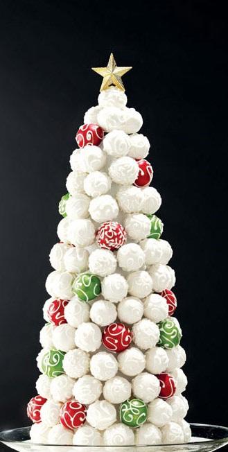 Настольные елки на конусах разной высоты: елка из елочных шаров