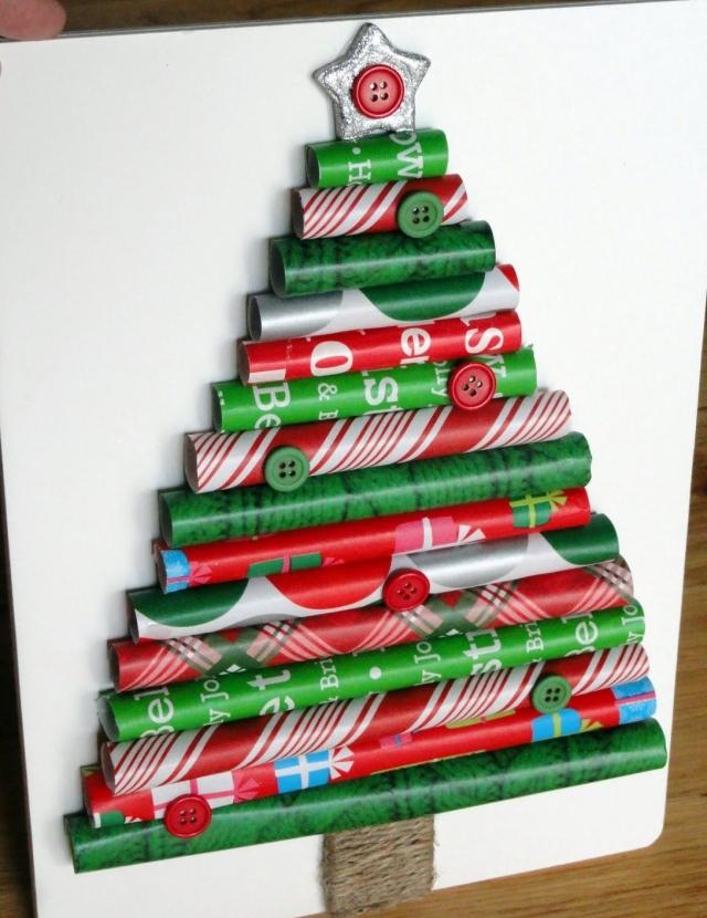 Новогодние елочки из свернутой бумаги - из рулонов декоративной упаковочной бумаги