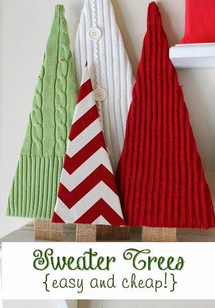 Как сделать новогоднюю елку своими руками: плоские елки - из свитеров и картона