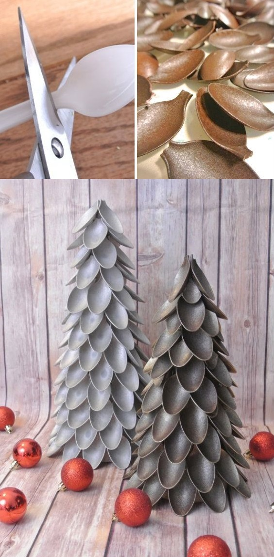 Настольные новогодние елки своими руками - на основе конусов: конусы, оклененные окрашенными пластиковыми столовыми ложками