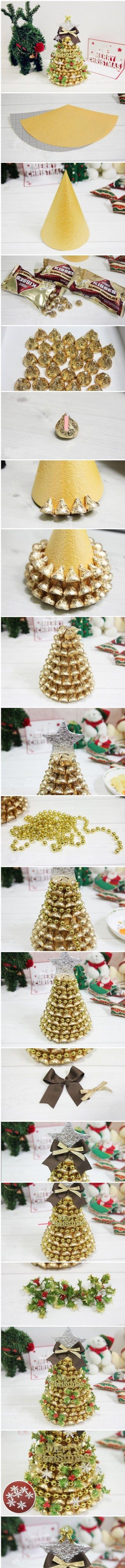 Новогодняя елочка из конфет Хершис в индивидуальной упаковке