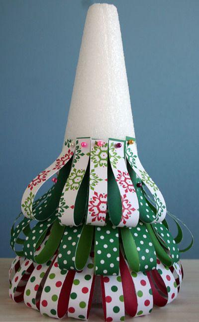 Настольные новогодние елки своими руками - на основе конусов: полоски ткани, сложенные петельками и точно также наклеиваемые кругами и уровнями на конус - принцип создания