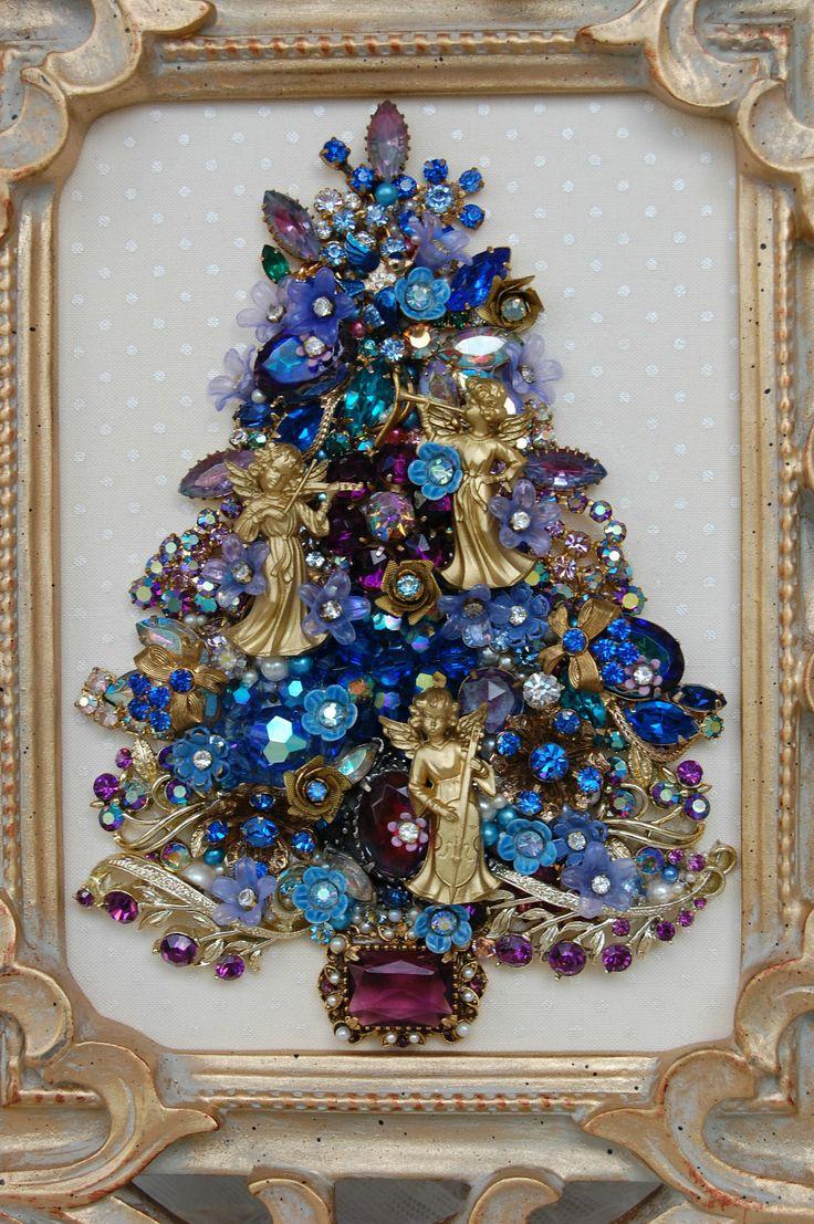 Как сделать новогоднюю елку своими руками: плоские елки - из бижутерии, плоские елки в раме, тренд