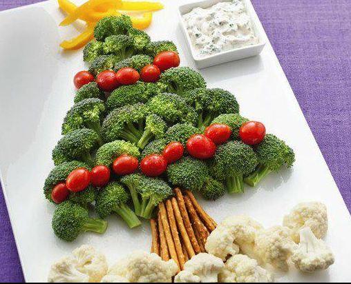 Как сделать новогоднюю елку своими руками: съедобные елки на стол - выложена из броккола, помидор Черри и соленой соломки