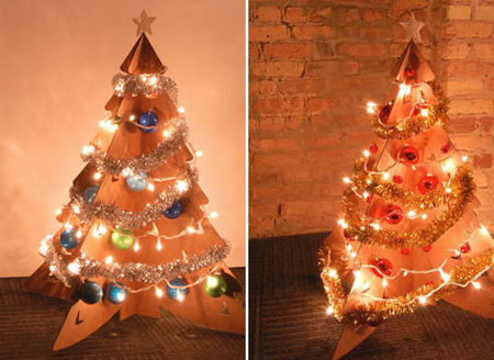 Как сделать новогоднюю елку своими руками: елки из бумаги - из двух одинаковых пересекающихся деталей из картона