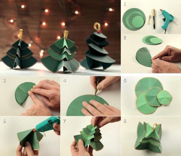 Как сделать новогоднюю елку своими руками: елки из бумаги - из кругов бумаги