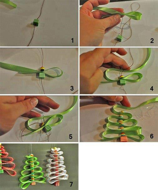 Как сделать новогоднюю елку своими руками: из лент и бусин, подвеска