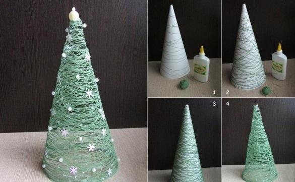 Настольные новогодние елки своими руками - на основе конусов: нитяная елка
