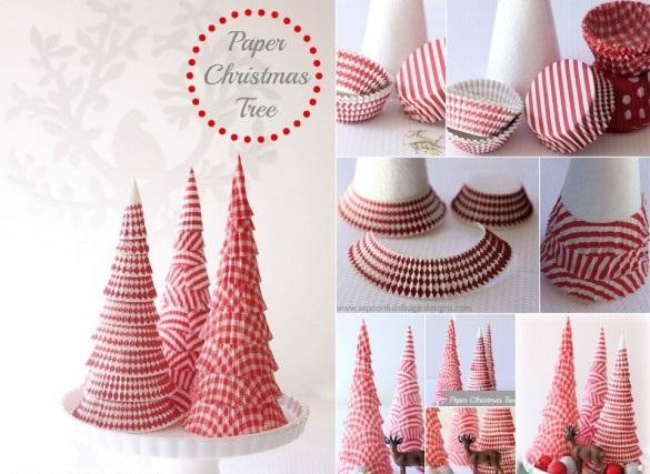 На конус-основу под новогоднюю елку налеиваем вырезанные бока от бумажных розеток для кексов