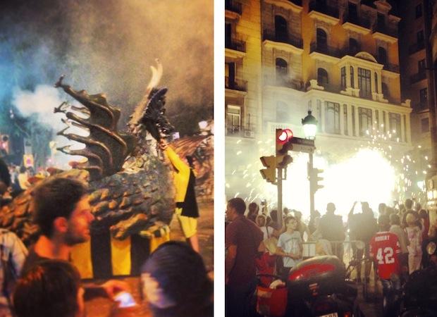 Фестиваль Мерсе (Festes de la Mercè) - парад на улице, Барселона