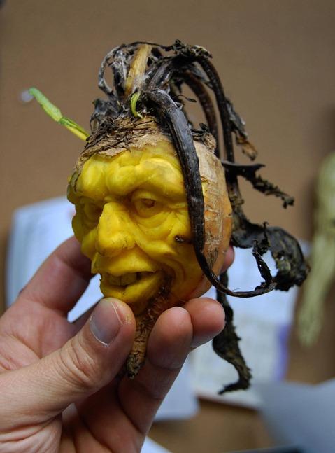 хэллоуинский карвинг по желтой свекле