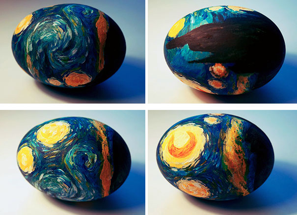 "Оригинально и креативно украшаем яйца на Пасху: рисуем на скорлупе детали картин в стиле имрессионизма - ""Звездая ночь"" Ван Гога"