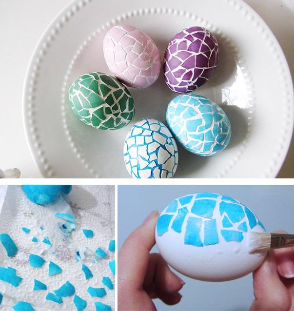 Оригинально и креативно украшаем яйца на Пасху: украшаем яйца окрашенной битой скорлупой