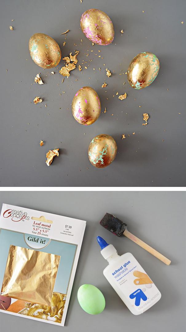 Оригинально и креативно украшаем яйца на Пасху: покрываем яйца сусальным золотом или аналогичным материалом