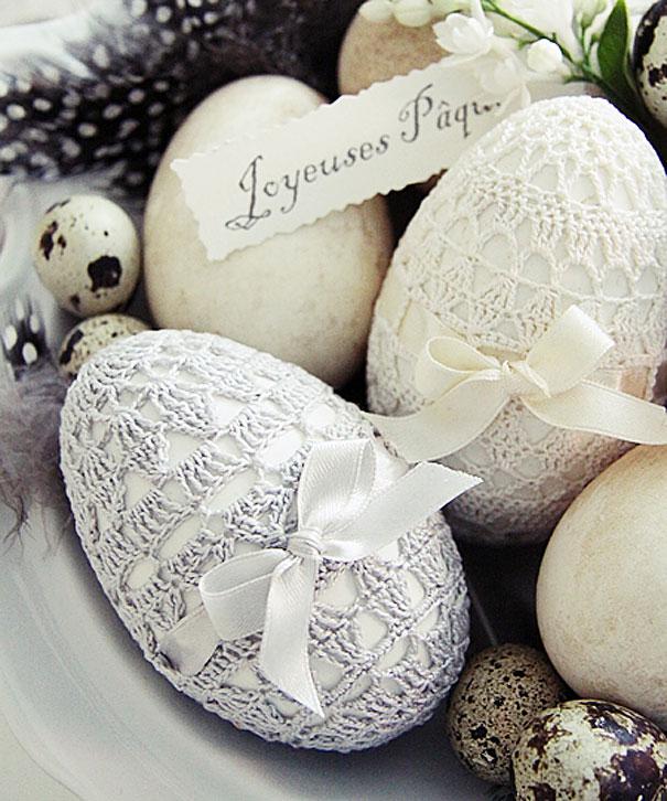 оригинальное и креативное окрашивание и декорирование яиц на Пасху: обвязывание крючком