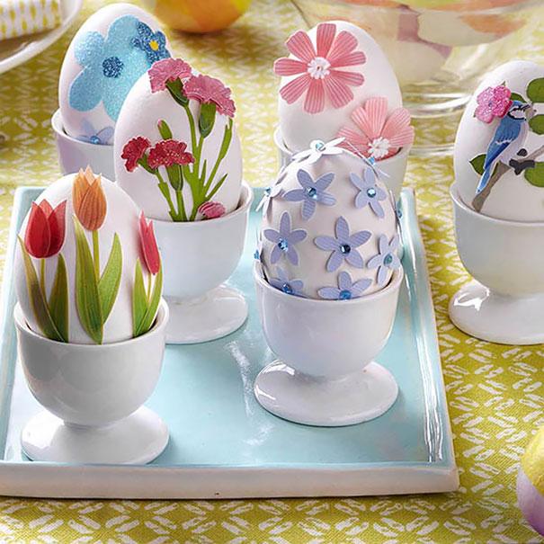 оригинальное и креативное окрашивание и декорирование яиц на Пасху: наклеиваем цветы из цветной бумаги