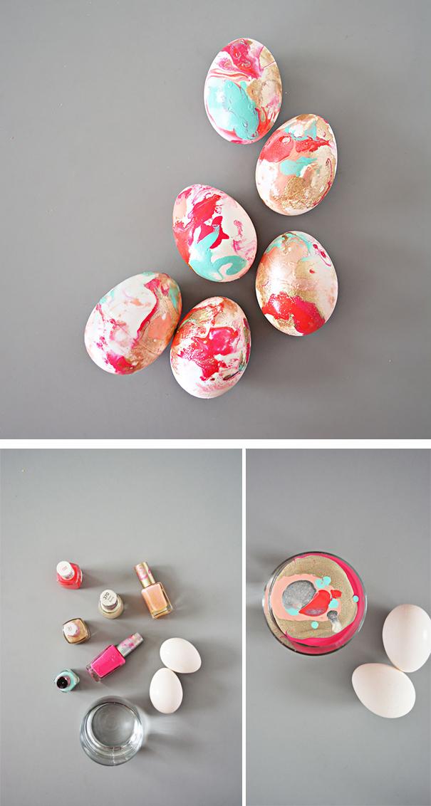 оригинальное и креативное окрашивание и декорирование яиц на Пасху: разводы лаком для ногтей