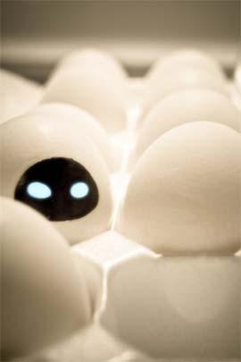 Оригинальное и креативное окрашивание и декорирование яиц на Пасху: раскрашивание фломастерами и маркерами - робот Ева из Валл-и