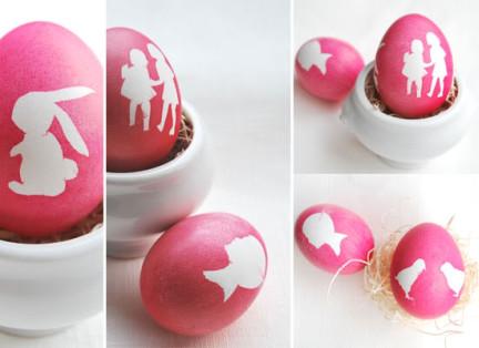 Оригинальное и креативное окрашивание и декорирование яиц на Пасху: контуры фигурок из липкой ленты