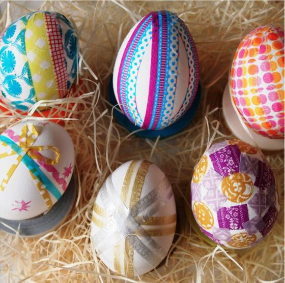 Оригинальное и креативное окрашивание и декорирование яиц на Пасху: washi-tape