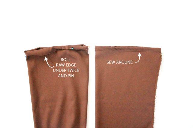 Подверните наизнанку необработанные края рукавов внизу, заколите булавками, прострочите