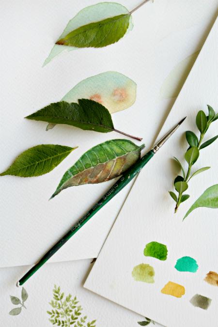 рисование листьев акварелью