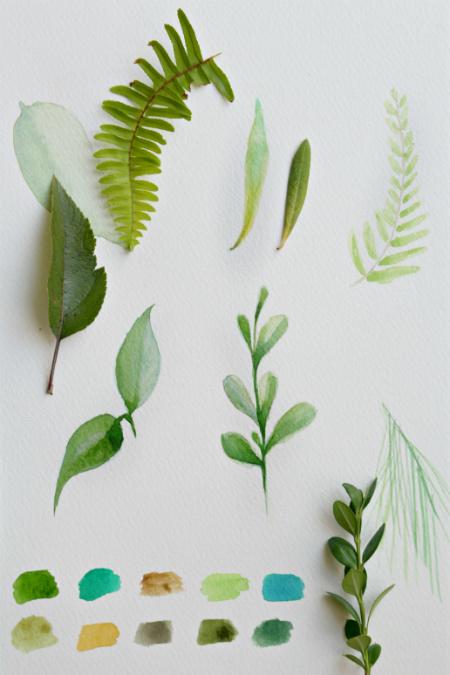 садовые листочки рисуем акварелью
