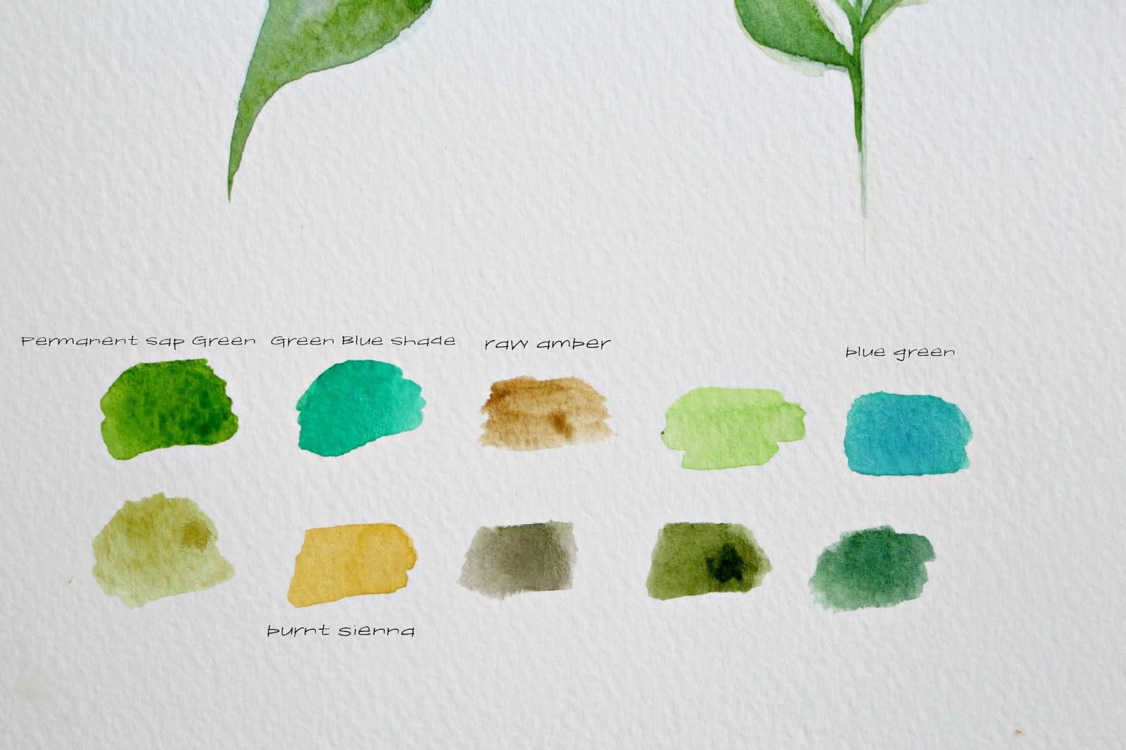 цветовая схема палитры для рисования листьев акварелью