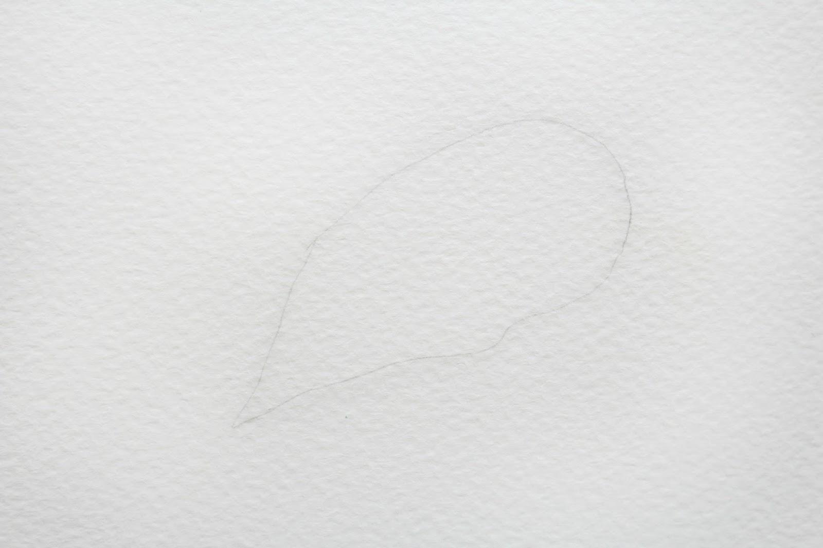 Карандашом сделайте еле заметный эскиз формы выбранного листика