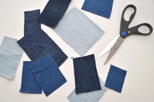 Посредством ножниц получите из собранных обрезков куски материала нужной формы и разных размеров