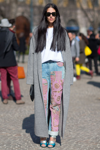 печворк на джинсах: передняя сторона штанин почти вся